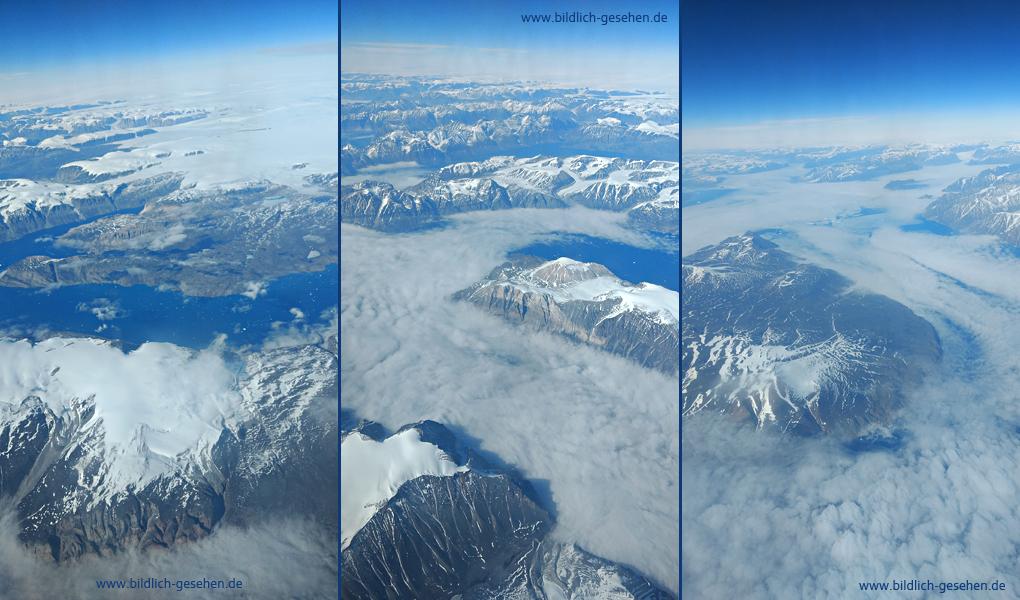 Grönland vom Flugzeug aus gesehen